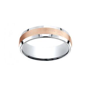 14K Two-Toned 6mm Comfort-Fit Satin Finish Beveled Edge Men's Band Ring Size 13