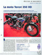 Rétro Moto Terrot 350 HD Motards Gendarmerie Nationale France FICHE POLICE