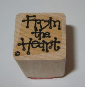 """From The Heart Rubber Stamp Gift Tag Wood Mounted 1"""" Square #2"""