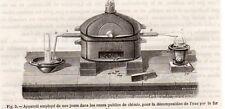 GRAVURE 1890 ENGRAVING INDUSTRIE APPAREIL DECOMPOSITION DE L EAU PAR FER CHAUFFE