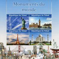 Chad Stamps 2021 MNH Statue of Liberty Big Ben Eiffel Tower Taj Mahal 4v M/S