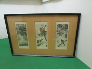 Framed Print Containing 3 Chinese Bird Related Prints