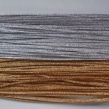 3MM METALLIC SILVER OR GOLD FLAT RUSSIA BRAID / CORD X 5 M