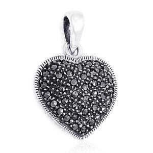 Large Black Marcasite Heart Sterling Silver Pendant