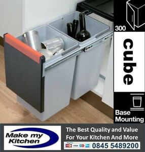 Cube 30ltr Double Pull Out Recycling Waste Bin 300mm 2 x 15ltr For 300mm Unit