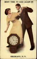 Oriskany NY Romance Overs & Clock Greeting c1910 Postcard