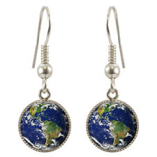 Planet Earth Silver Plated Dangle Earrings Boxed