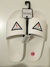 NWT GUESS MEN'S ISAAC LOGO CAMO SLIDE SANDAL SLIPPERS WHITE SIZE 12