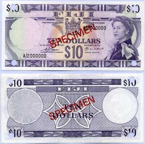 Fiji 10 Dollars QE II 1974 P 74 S6 Specimen A/2 000000 UNC