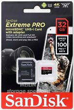 SanDisk 32 GB Extreme PRO micro SD SDHC 100MB/s UHS-I U3 V30 Card 4K UHD A1 32G