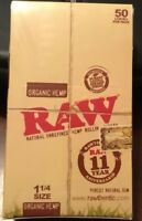 RAW Unrefined Natural Organic Hemp(12 Packs) Vegan Rolling Papers 1 1/4*1.25