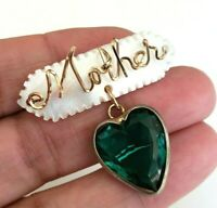 Vtg MOTHER GF Wire Mother of Pearl Green Heart Glass Dangle Pin