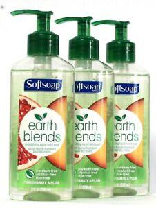 3 Bottles Softsoap 8 Oz Earth Blends Pomegranate & Plum Moisture Hand Soap
