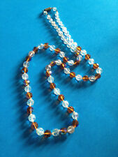 Vintage Collier Perles de Verre Facettées Irisées / Glass Beads Necklace