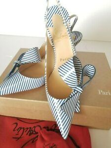 New Christian Louboutin Clare Nodo 80 Striped Side-Bow Red Sole Slingback Pumps