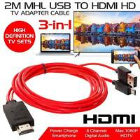 MHL Micro USB to 1080P HDMI HDTV Adapter Cable for Samsung Galaxy LG HTC Sony **