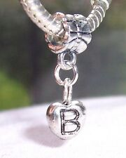Letter B Heart Alphabet Initial Dangle Charm for Silver European Bead Bracelets