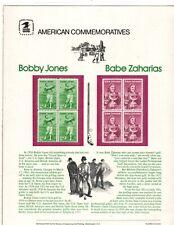 BOBBY JONES, BABE ZAHARIAS COMMEMORATIVE PANEL # 1932 / 1933 Catalog $50.00