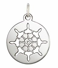 925 Solid Sterling Silver 17mm Laser Cut Ship's Wheel Charm Pendent 1pc #5722--4