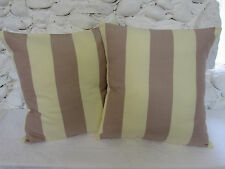 Cushion Covers (2), Designers Guild, Old Rose, Cream, Stripes.