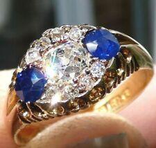 Hallmarked 1894 18ct Gold 0.5ct Center Old Mine Diamond & 0.5ctw Sapphires Ring