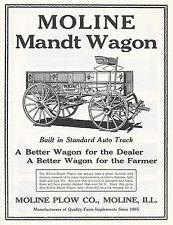 LARGE 1919 MOLINE MANDT FARM WAGON AD ADVERTISEMENT MOLINE IL ILLINOIS