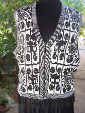 Vintage Western Native Indian Style Tribal Bird FULLY Beaded Fringe Vest~L/XL