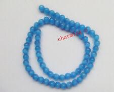 20pz  perline in vetro occhi di gatto colore blu 6mm