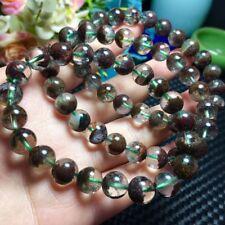 Natural Clear Quartz Red Phantom Crystal Gemstone Round Beads Bracelet AAA