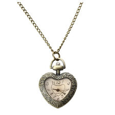 Vintage Antique Heart Shape Necklace Chain Pendant Quartz Movement Pocket Wa 2K8