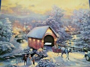 Thomas Kinkade Jigsaw Puzzle 1000 pc Winter Evening Memories Sealed Sleigh
