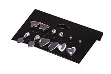 UNIQUE CHROME / SILVER HEART BUTTERFLY DIAMANTE STUDS SET OF 6 EARRINGS(ZX12)