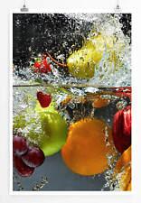60x90cm Food-Fotografie – Obst im spritzenden Wasser