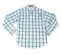 Columbia Mens Shirt Blue Size XL PFG Super Tamiami Plaid Button Down $64 114