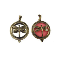 1pc Bronze Hollow Brass Dragonfly Locket Aromatherapy Oil Diffuser Pendants Gift
