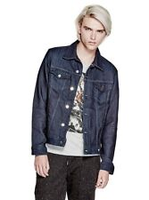 Guess Dillon Knit Denim Jacket Dark Wash Pointed Collar Size S