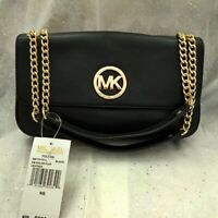 Michael Kors Fulton Black Leather Shoulder Bag. NEW!