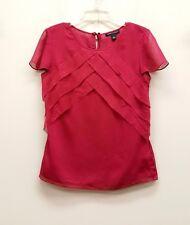 BANANA REPUBLIC Size 2 Fuscia Pink Chiffon Tiered Sheer Cap Sleeve Blouse Top