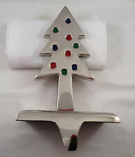 Christmas Tree Stocking Hanger Silver Plated Green Red Blue Balls Heavy Nice