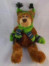 "Mary Meyer Teddy Bear w/ Sweater Gloves & Hat (Green) 12"""