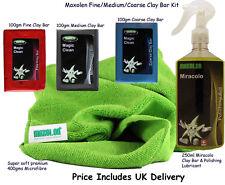 MaxolenUK Clay Bar Kit Coarse Medium Fine, lubricant & Super Plush Microfibre