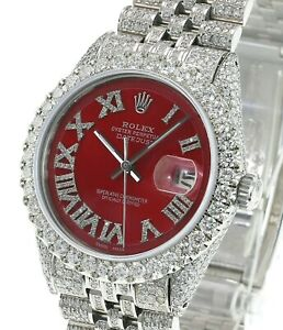 Rolex Mens Datejust SS 36mm Red Diamond Roman Fully Loaded High Quality Diamond