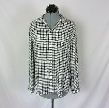 Ann taylor LOFT Blouse Button Front Black White Gray Small Long Sleeve