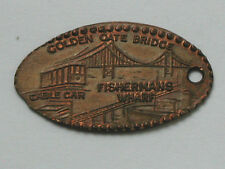 San Fransisco CA Elongated Penny Golden Gate/Cable Car/Wharf Pressed Flat &Holed
