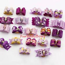 5 Dif Purple & lavender YORKIE Girl Dog PET Puppy Bows Shih-tzu Maltese Poodle