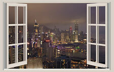 Hong Kong City Lights Window View Repositionable Color Wall Sticker Mural 3 FT