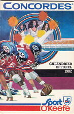 1982 MONTREAL CONCORDES CFL FOOTBALL SCHEDULE -  FRENCH