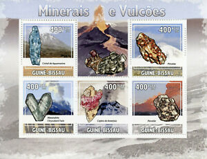 Guinea-Bissau Minerals & Volcanoes Stamps 2009 MNH Aquamarine Amethyst 5v M/S