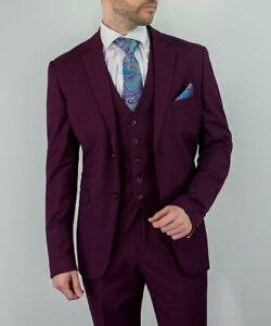 Mens Cavani Wine Burgundy Classic Wedding Lined Formal Fitted 3 Piece Suit
