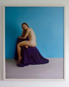 Original Framed Oil Painting Female Nude Girl woman sitting on purple drape art